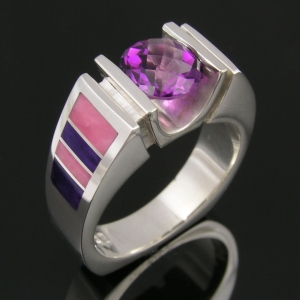Amethyst sterling silver ring with sugilite and nambulite inlay.