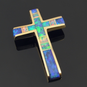 Australian opal cross in 14k gold