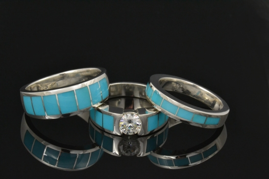 Turquoise and moissanite wedding and engagement ring set.