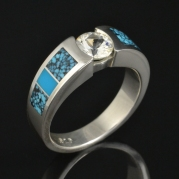 White sapphire and turquoise engagement ring by Hileman Silver Jewelry.