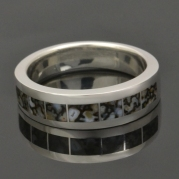 Gray dinosaur bone ring in sterling silver.