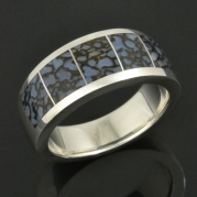 Blue dinosaur bone ring in sterling silver by Hileman Silver Jewelry.