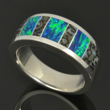 Dinosaur bone ring with lab created opal by Hileman