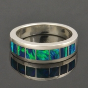 Lab created opal ring in sterling silver.
